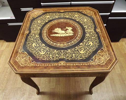 ゲームテーブル イタリア製 ルーレット チェス バックギャモン 象嵌 カジノ アンティーク 西岡店_画像1