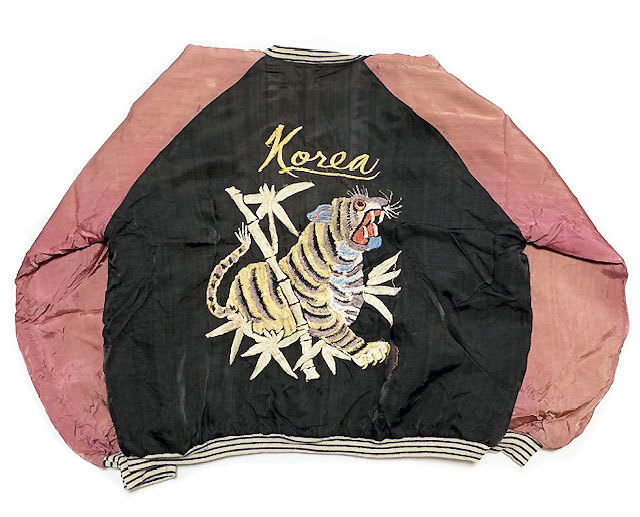 稀少■年代不詳 ヴィンテージ 鷹×虎 KOREA 刺繍 スカジャン黒_画像2