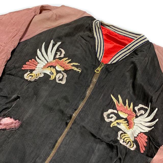 稀少■年代不詳 ヴィンテージ 鷹×虎 KOREA 刺繍 スカジャン黒_画像3