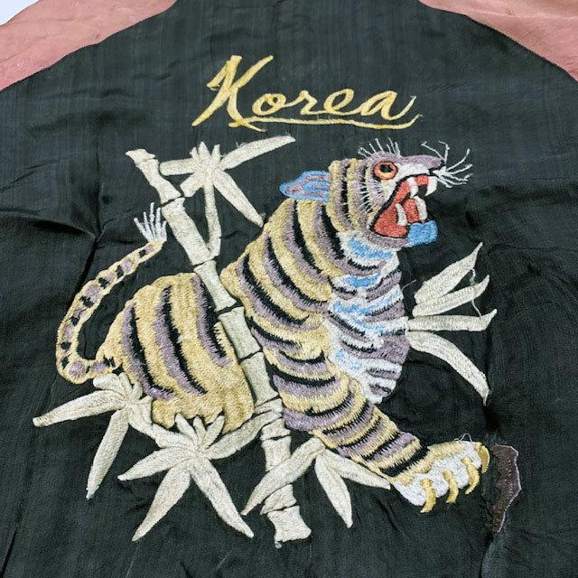 稀少■年代不詳 ヴィンテージ 鷹×虎 KOREA 刺繍 スカジャン黒_画像4