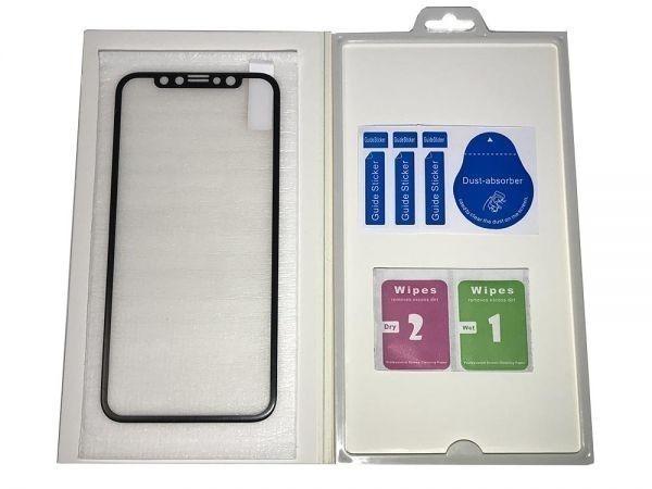【Xフィルム】☆強硬度9H 強化ガラスフィルム☆ iPhone X XS 専用 液晶保護フィルム 全面保護 気泡指紋防止 クリーナー_画像2