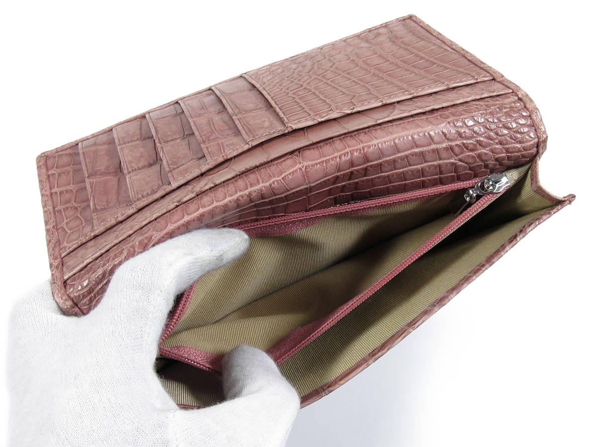 クロコダイル 一枚革 無双 長財布 マット ダークピンク_画像5