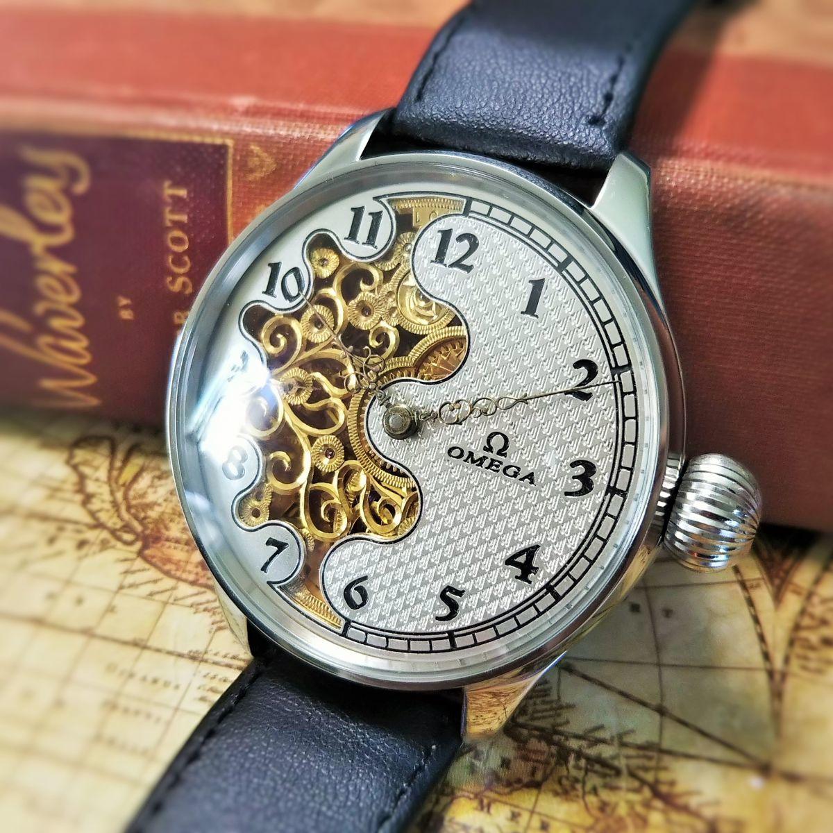 ★OMEGAオメガ 1910's 48mm スケルトン 彫刻 メンズ腕時計 アンティークウォッチ 手巻き 動作良好 OH済 返品保証 送料無料 美品レア希少