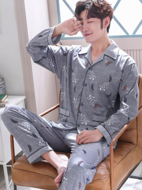 メンズ 長袖 パジャマ 部屋着 ルームウェア 春秋 綿 前開き ジュニア ボーイズ ゆったり 大きいサイズ#0927