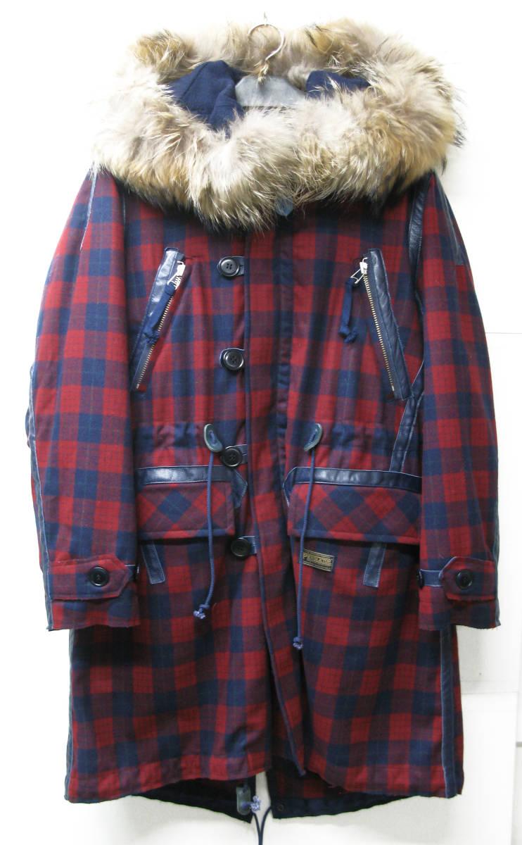 ジョン アンダーカバー John UNDER COVER:モッズ コート 3 ( coat タータンチェック ライナー付き ラクーンファー coat_画像1