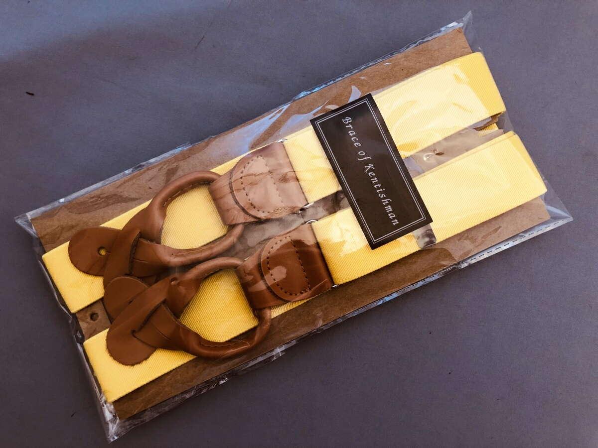 サスペンダー 英国流 6ボタン留め メンズ 紳士 Yバック クラシック ブレイシーズ Braces エラスティック 伸縮素材 N Yellow/Tan B329_b329