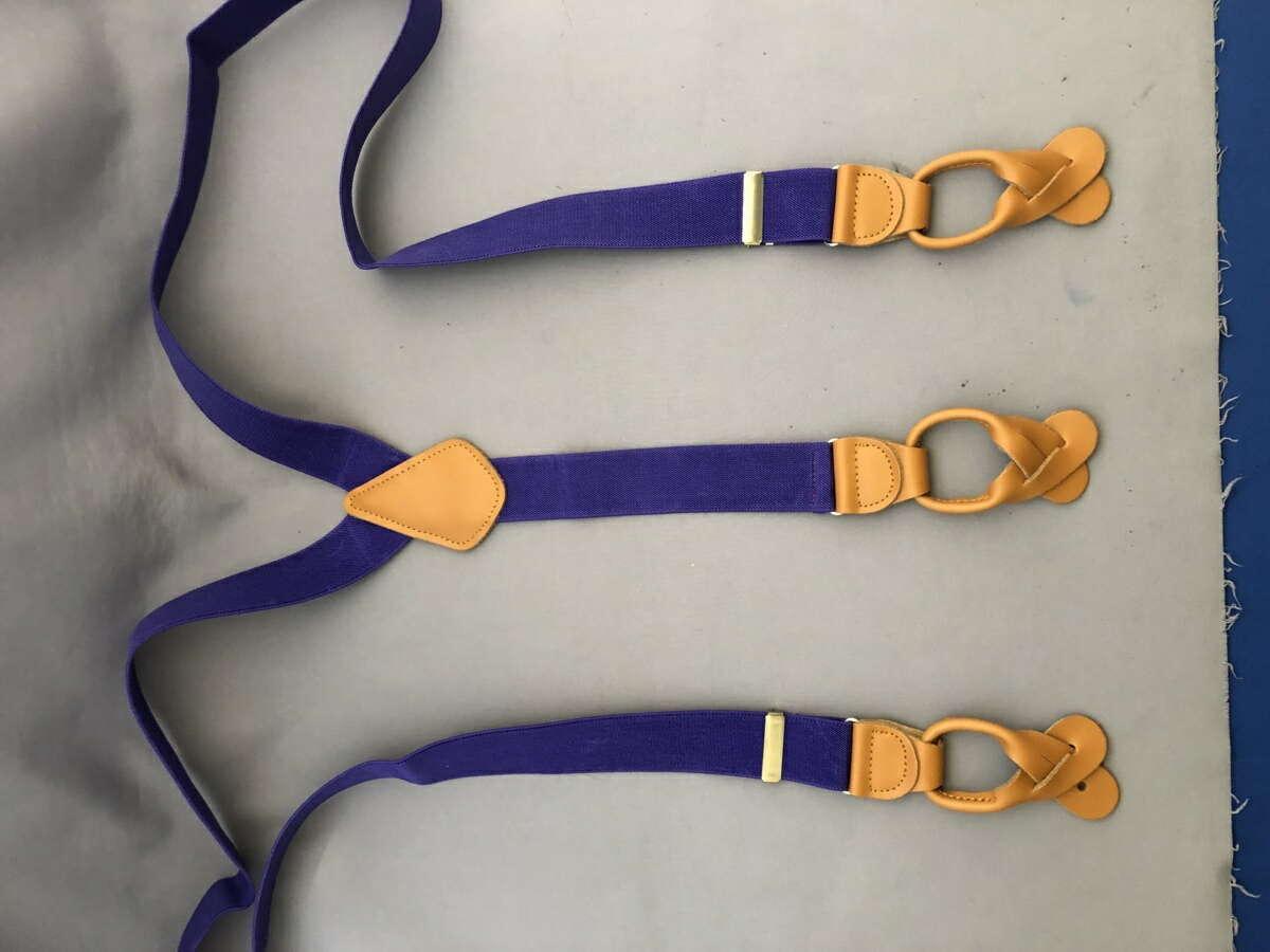 サスペンダー 英国流 6ボタン留め メンズ 紳士 Yバック クラシック ブレイシーズ Braces エラスティック 伸縮素材 N Purple/Tan B333_b333