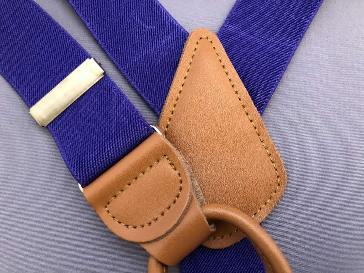 サスペンダー 英国流 6ボタン留め メンズ 紳士 Yバック クラシック ブレイシーズ Braces エラスティック 伸縮素材 N Purple/Tan B333_b332