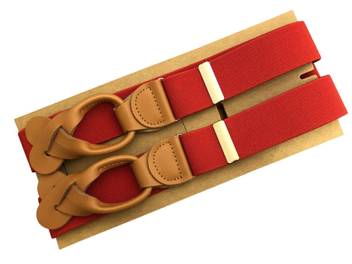 サスペンダー 英国流 6ボタン留め メンズ 紳士 Yバック クラシック ブレイシーズ Braces エラスティック 伸縮素材 N Red/Tan B335_b335