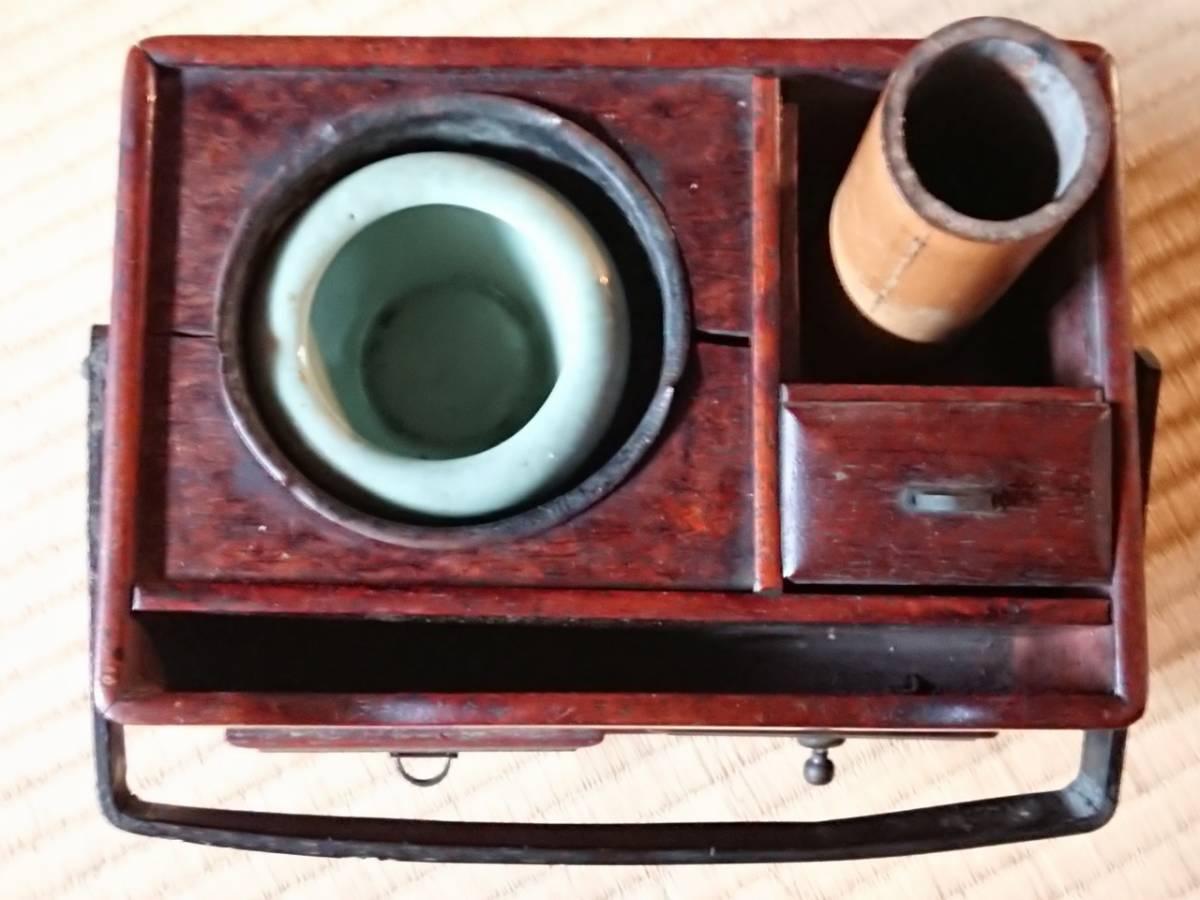 煙草盆 引出し付き キセル立て 喫煙具 古道具 古民家 骨董 幅約210㎜ 奥行約145㎜ 高さ約140㎜ 【2228】_画像6