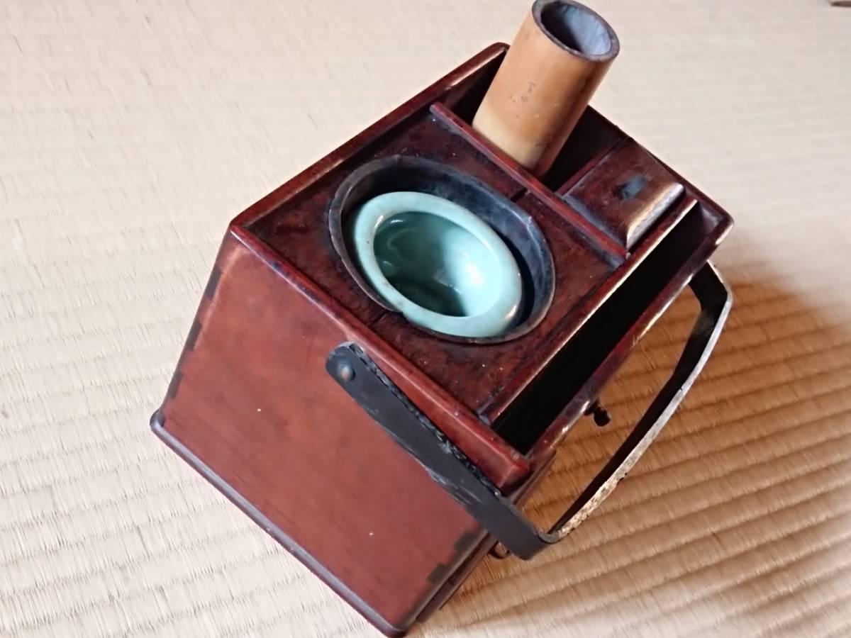 煙草盆 引出し付き キセル立て 喫煙具 古道具 古民家 骨董 幅約210㎜ 奥行約145㎜ 高さ約140㎜ 【2228】_画像5