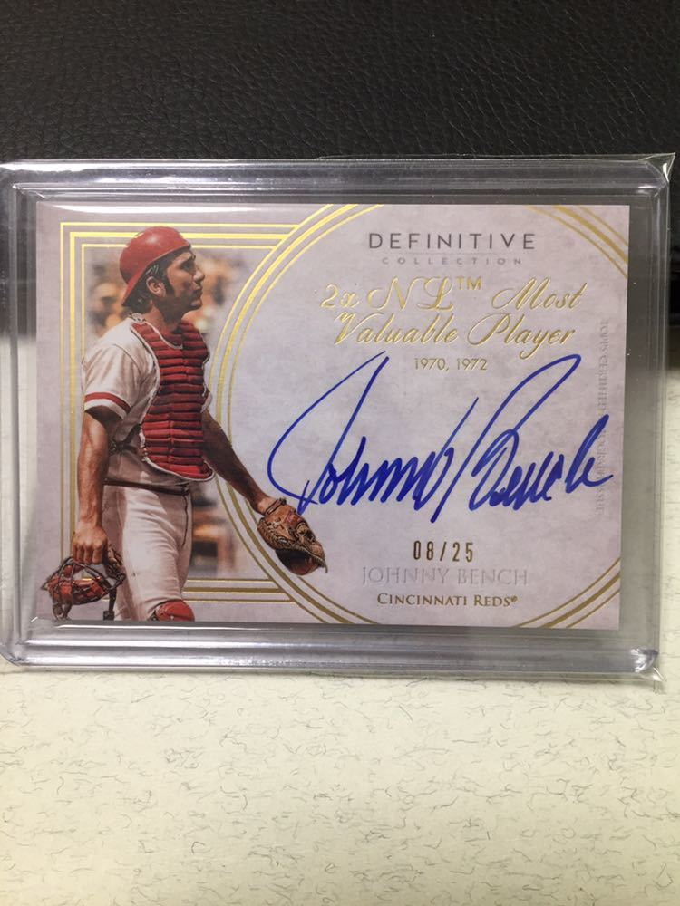 2017 Topps Definitive Collection Johnny Bench Auto /25 直書き