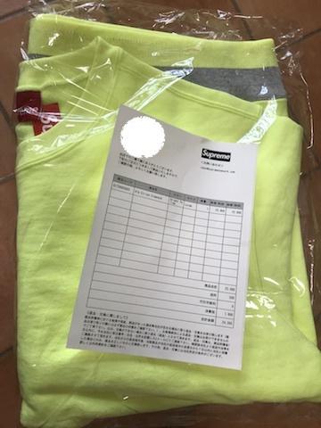 (L)未使用品 納品書付き 19ss Supreme Rib Stripe Crewneck Bright Yellow Lサイズ 国内正規品 シュプリーム sweatshirt 20ss_画像2