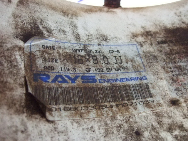ジャンク!旧TE37?CP-5 RAYS VOLK Racing レイズ ボルク レーシング5本スポークタイプ軽量ホイール16×8.0J+33 114.3/5H 2本白_画像7