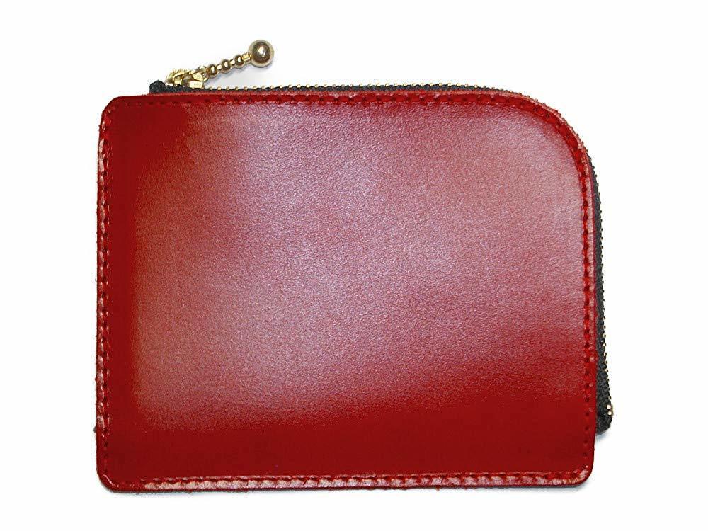 小さいお財布(レッド)L字ファスナー 財布 コインケース 小銭入れ 赤色 メンズ レディーズ 本革 レザー【送料無料】【新品】_画像1