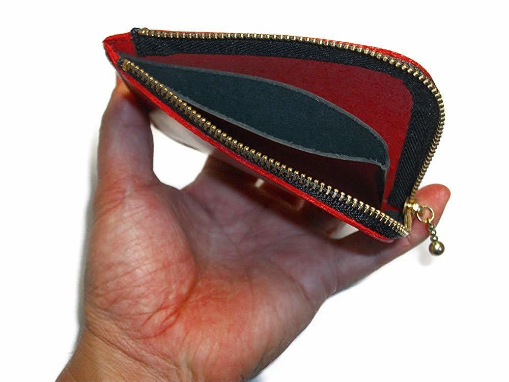 小さいお財布(レッド)L字ファスナー 財布 コインケース 小銭入れ 赤色 メンズ レディーズ 本革 レザー【送料無料】【新品】_画像2