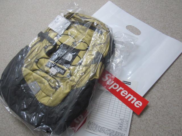 18ss supreme × the north face metallic borealis backpack box logo gold 金ゴールド ボックスロゴ ノース ノースフェイス シュプリーム_画像1