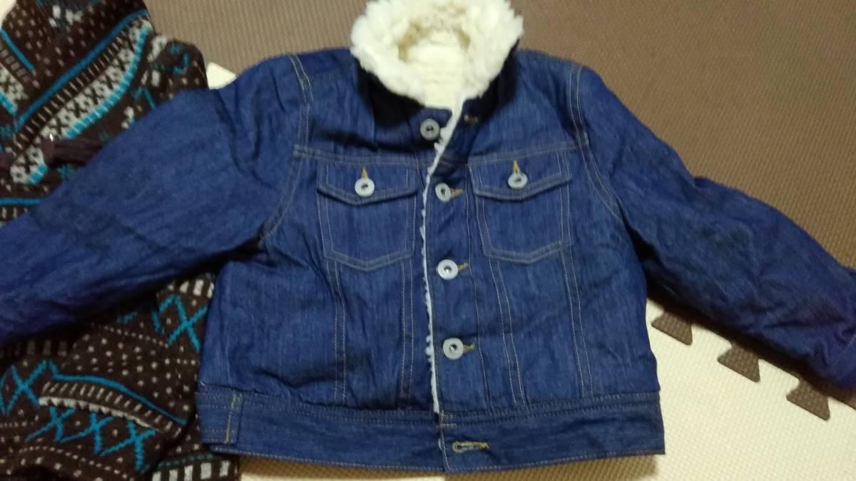 ☆男子用トップス 110サイズ 長袖セーター&ボア付きブルゾンセット 中古美品 子供服 キッズ用☆_画像2