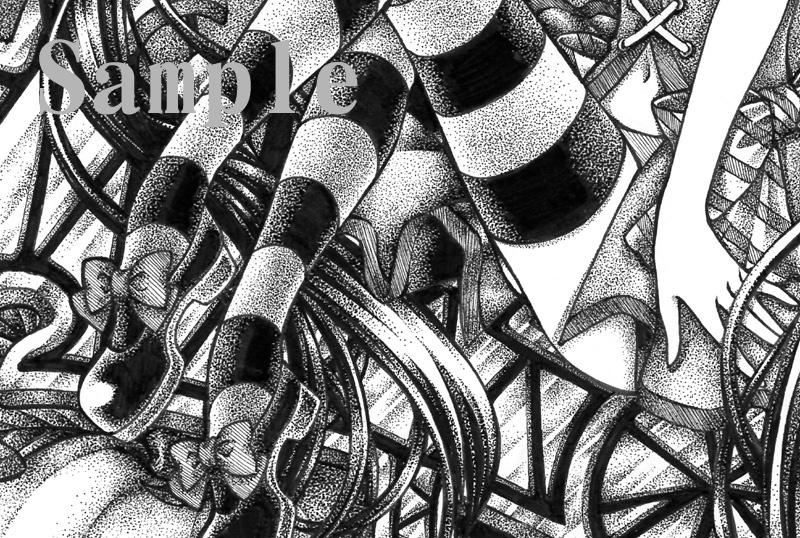 手描きイラスト オリジナルモノクロ画005 特大B4サイズ 一点物 点描 原画_画像4