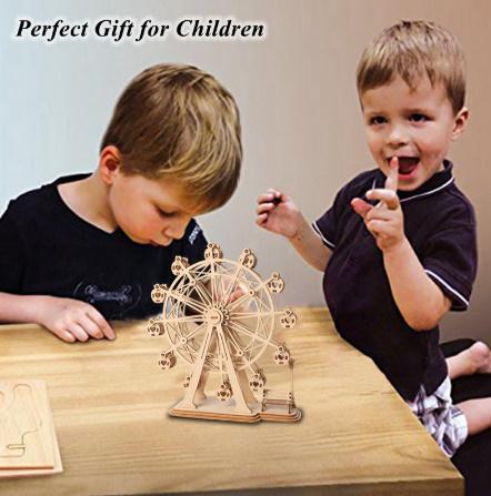 【プラモデル木製】 木製動物 & ビルディングパズル 子供天然木のおもちゃモデル構築キット 教育趣味ギフト  k077_画像5