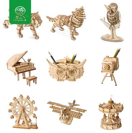 【プラモデル木製】 木製動物 & ビルディングパズル 子供天然木のおもちゃモデル構築キット 教育趣味ギフト  k077_画像1