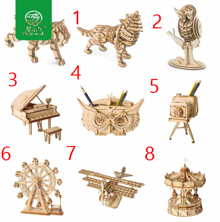 【プラモデル木製】 木製動物 & ビルディングパズル 子供天然木のおもちゃモデル構築キット 教育趣味ギフト  k077_画像7