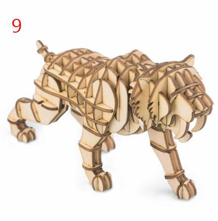 【プラモデル木製】 木製動物 & ビルディングパズル 子供天然木のおもちゃモデル構築キット 教育趣味ギフト  k077_画像8