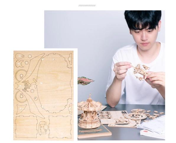 【プラモデル木製】 木製動物 & ビルディングパズル 子供天然木のおもちゃモデル構築キット 教育趣味ギフト  k077_画像2