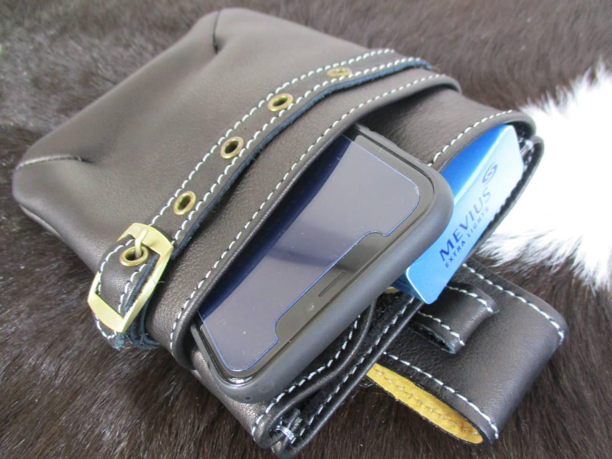新品 本革 レザーチョークバッグ ヒップバッグ ベルトポーチ 小物入れ ブラック 牛革 メンズ スマホケース iPhoneケース ベルトバッグ 人気