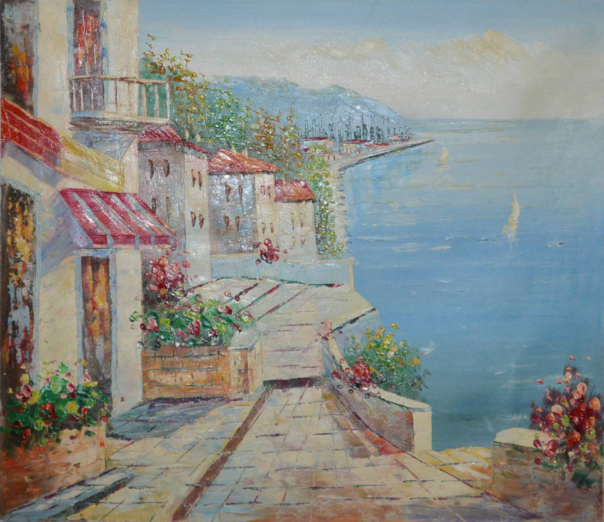 油絵 絵画 油彩 美術品 風景画 観光の海 肉筆 真作 F12 NO-77_画像2