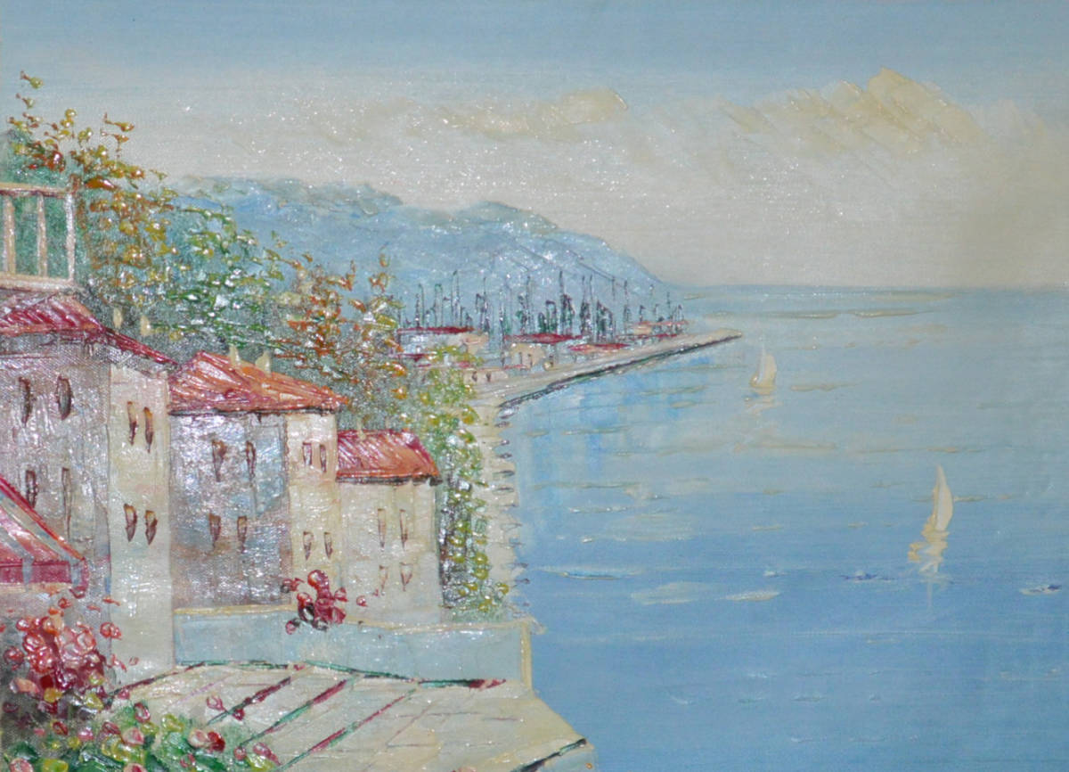 油絵 絵画 油彩 美術品 風景画 観光の海 肉筆 真作 F12 NO-77_画像3
