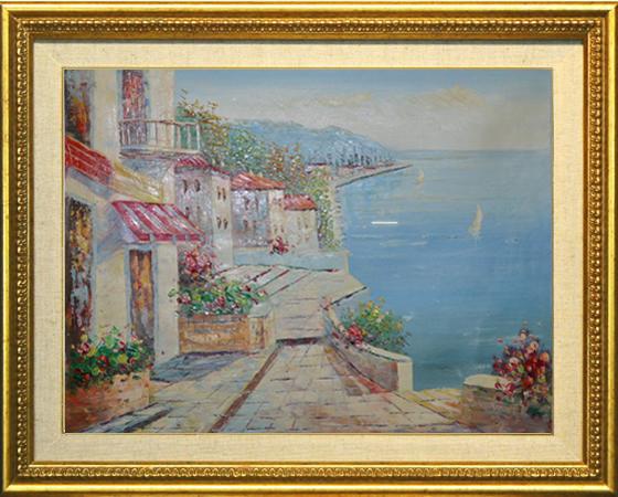 油絵 絵画 油彩 美術品 風景画 観光の海 肉筆 真作 F12 NO-77_画像1
