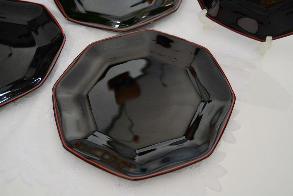 3002r28 フランス製 8角形プレート/中皿 5枚組 ブラック/黒 光沢感のある大人シックなブラックカラーが落ち着いた印象を感じさせる逸品_画像2