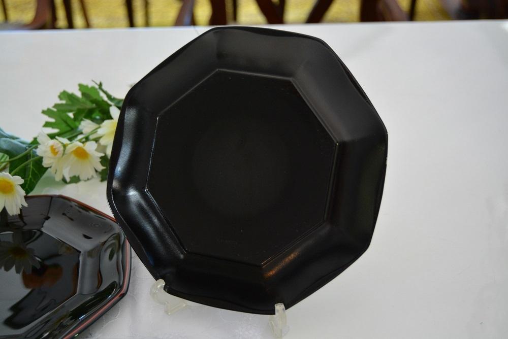 3002r28 フランス製 8角形プレート/中皿 5枚組 ブラック/黒 光沢感のある大人シックなブラックカラーが落ち着いた印象を感じさせる逸品_画像3
