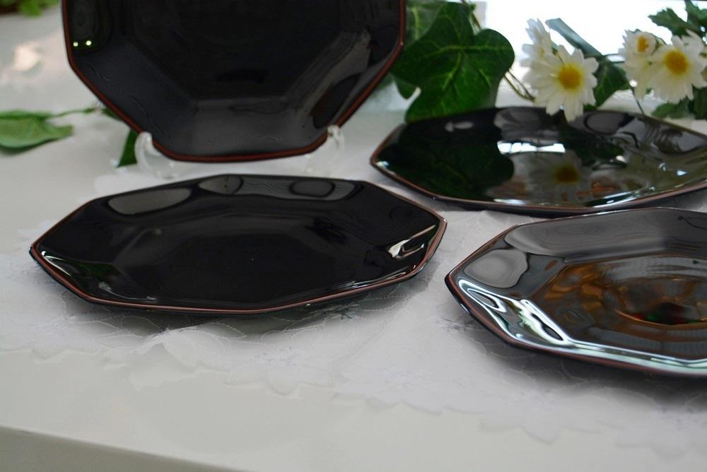 3002r28 フランス製 8角形プレート/中皿 5枚組 ブラック/黒 光沢感のある大人シックなブラックカラーが落ち着いた印象を感じさせる逸品_画像4