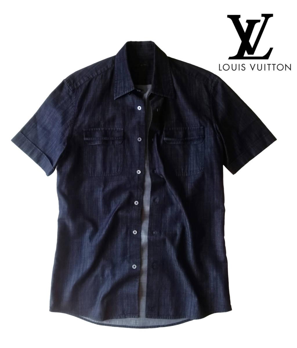 希少・レア品 ◆ LOUIS VUITTON ◆ ルイヴィトン ◆ ブラック 半袖 デニム シャツ 38 黒 M~Lサイズ相当 メンズ イタリア製 LVロゴ刺繍 _画像1