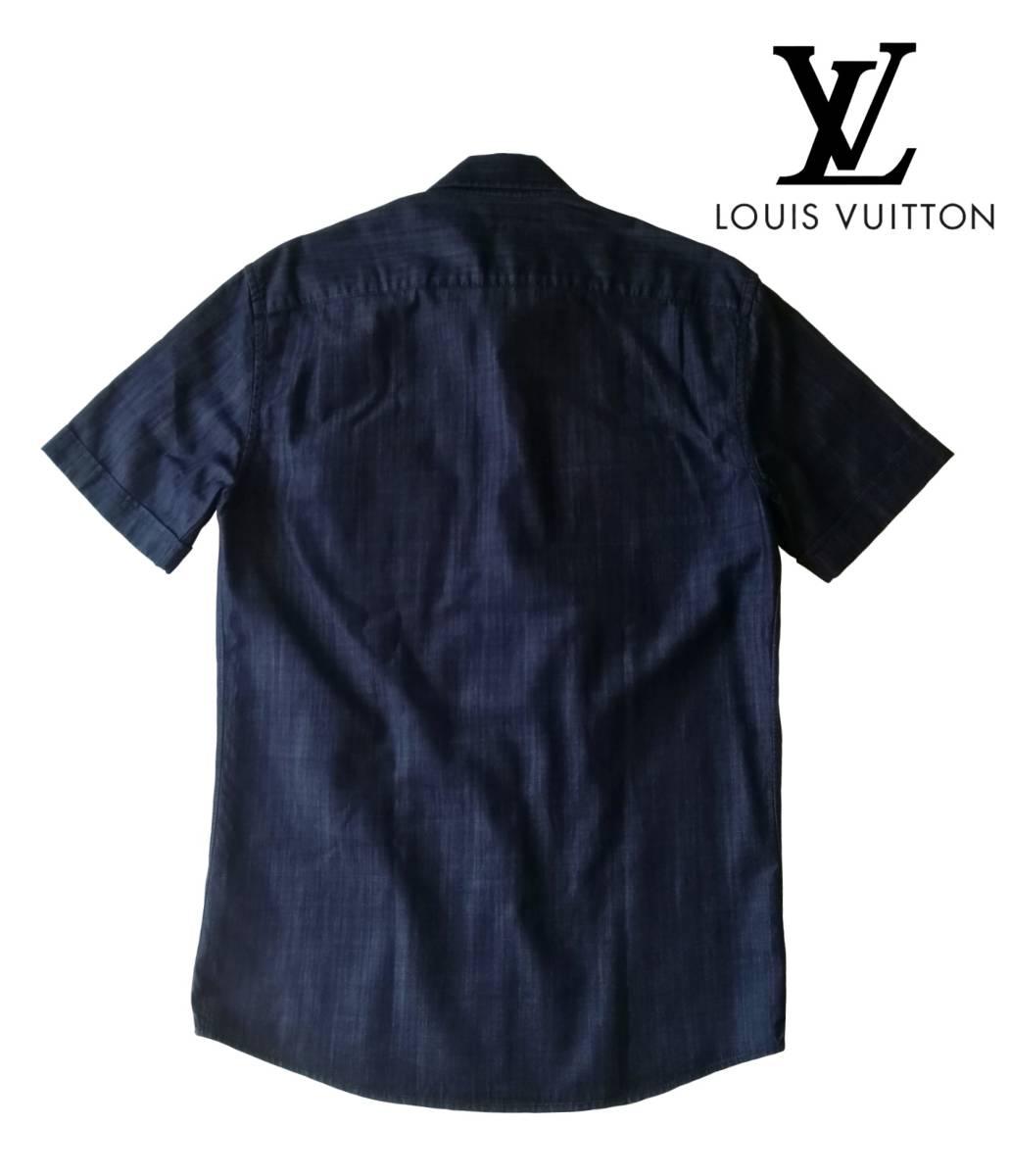 希少・レア品 ◆ LOUIS VUITTON ◆ ルイヴィトン ◆ ブラック 半袖 デニム シャツ 38 黒 M~Lサイズ相当 メンズ イタリア製 LVロゴ刺繍 _画像2