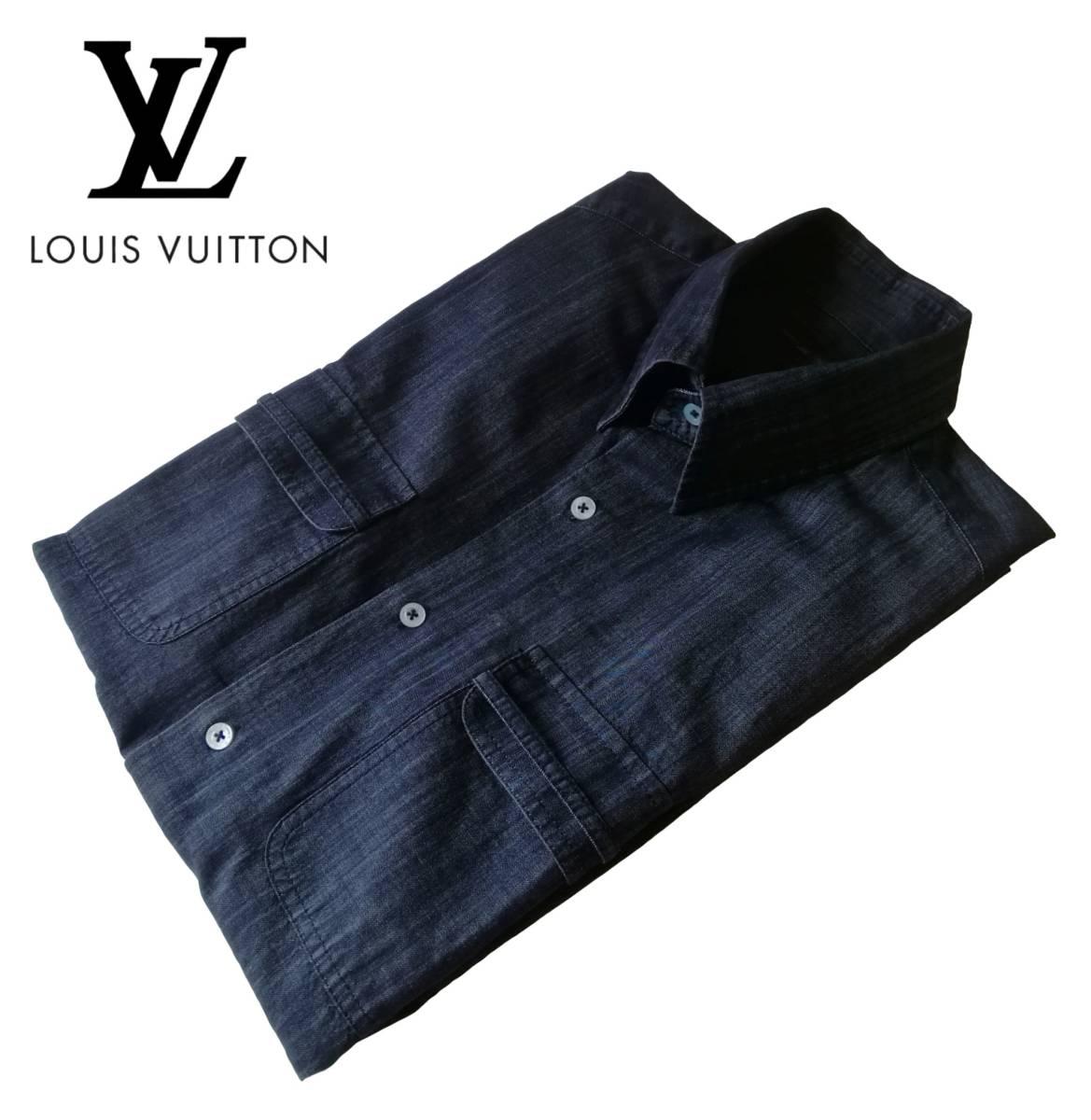 希少・レア品 ◆ LOUIS VUITTON ◆ ルイヴィトン ◆ ブラック 半袖 デニム シャツ 38 黒 M~Lサイズ相当 メンズ イタリア製 LVロゴ刺繍 _画像3