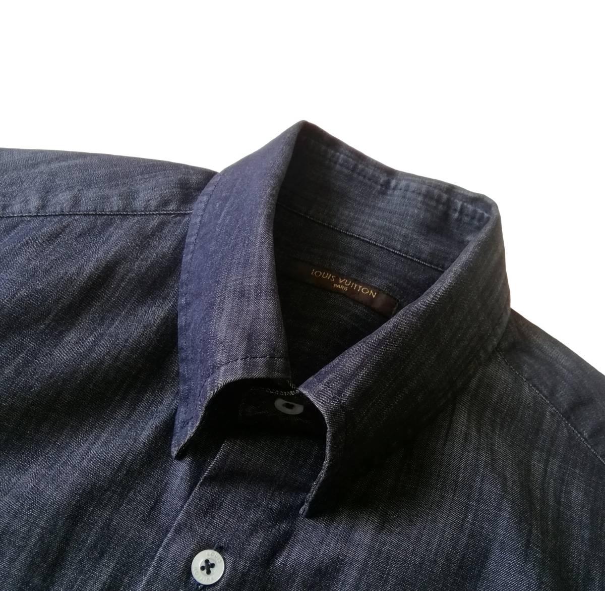希少・レア品 ◆ LOUIS VUITTON ◆ ルイヴィトン ◆ ブラック 半袖 デニム シャツ 38 黒 M~Lサイズ相当 メンズ イタリア製 LVロゴ刺繍 _画像5