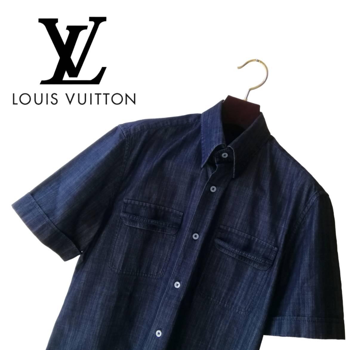 希少・レア品 ◆ LOUIS VUITTON ◆ ルイヴィトン ◆ ブラック 半袖 デニム シャツ 38 黒 M~Lサイズ相当 メンズ イタリア製 LVロゴ刺繍 _画像8