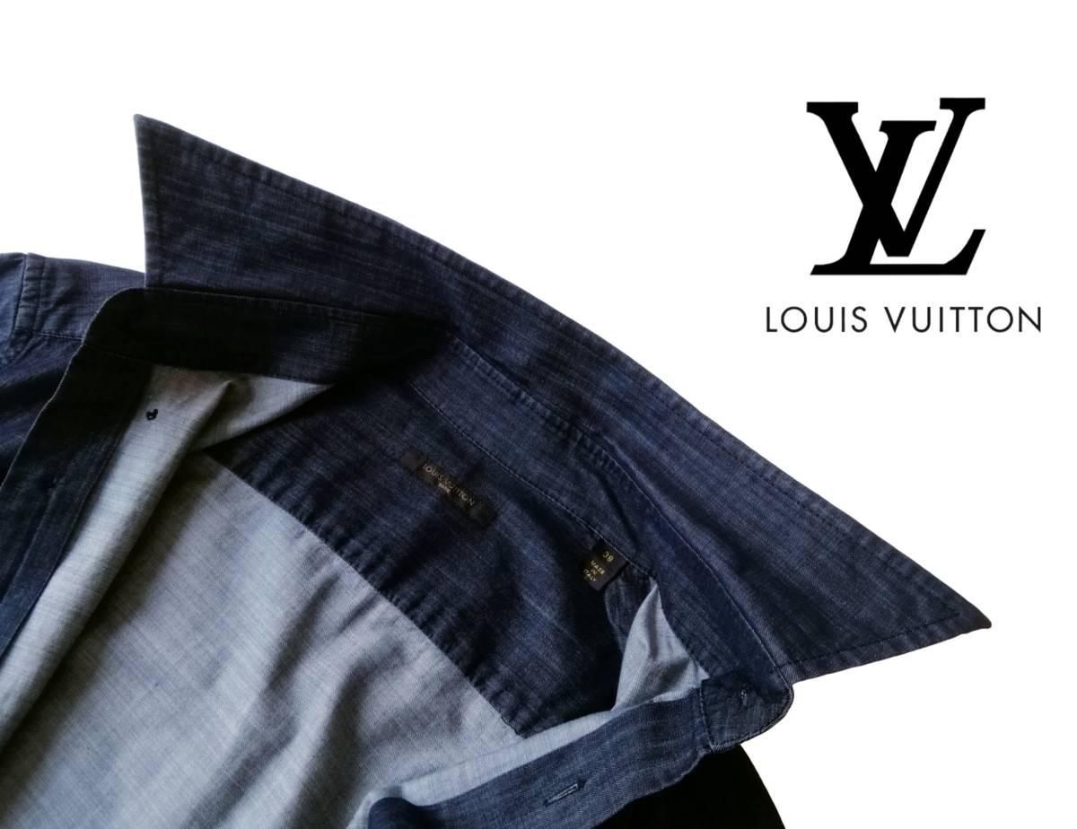 希少・レア品 ◆ LOUIS VUITTON ◆ ルイヴィトン ◆ ブラック 半袖 デニム シャツ 38 黒 M~Lサイズ相当 メンズ イタリア製 LVロゴ刺繍 _画像4
