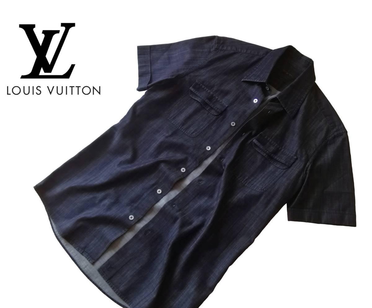 希少・レア品 ◆ LOUIS VUITTON ◆ ルイヴィトン ◆ ブラック 半袖 デニム シャツ 38 黒 M~Lサイズ相当 メンズ イタリア製 LVロゴ刺繍 _画像7