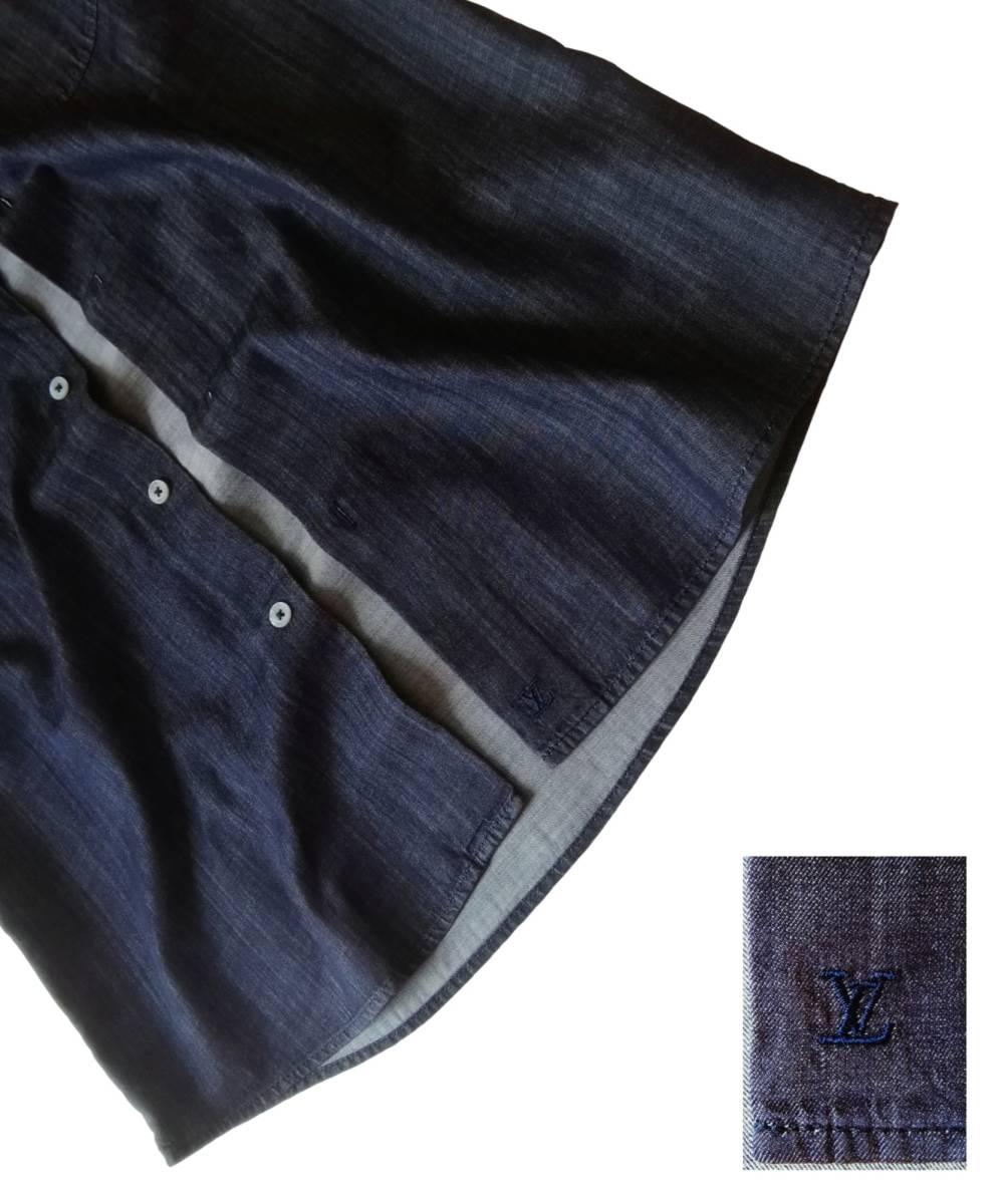 希少・レア品 ◆ LOUIS VUITTON ◆ ルイヴィトン ◆ ブラック 半袖 デニム シャツ 38 黒 M~Lサイズ相当 メンズ イタリア製 LVロゴ刺繍 _画像6