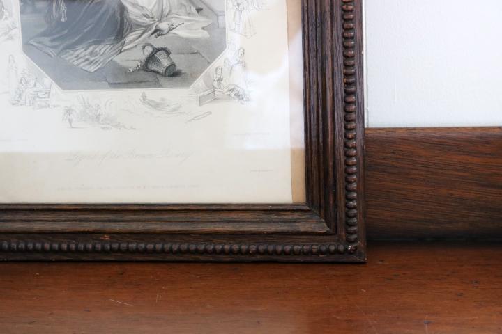 ■ オーク材の頑丈な額に収められたエッチング/英国/ヴィクトリアン、アンティーク/SALE ■_画像4