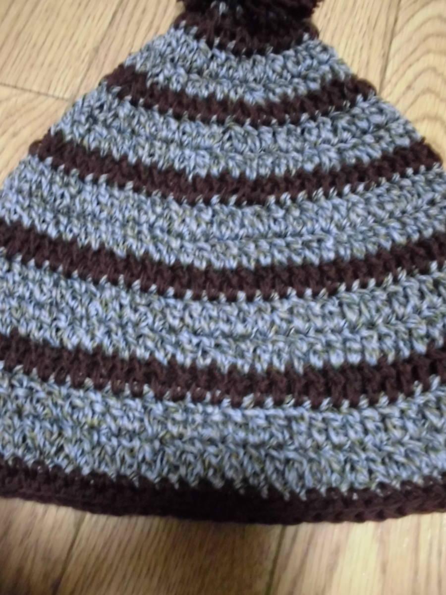 ハンドメイド 手編み ニットキャップ ブラウン カーキー/ボーダー 茶色 毛糸 手作り レトロ 帽子 ニット帽_画像2