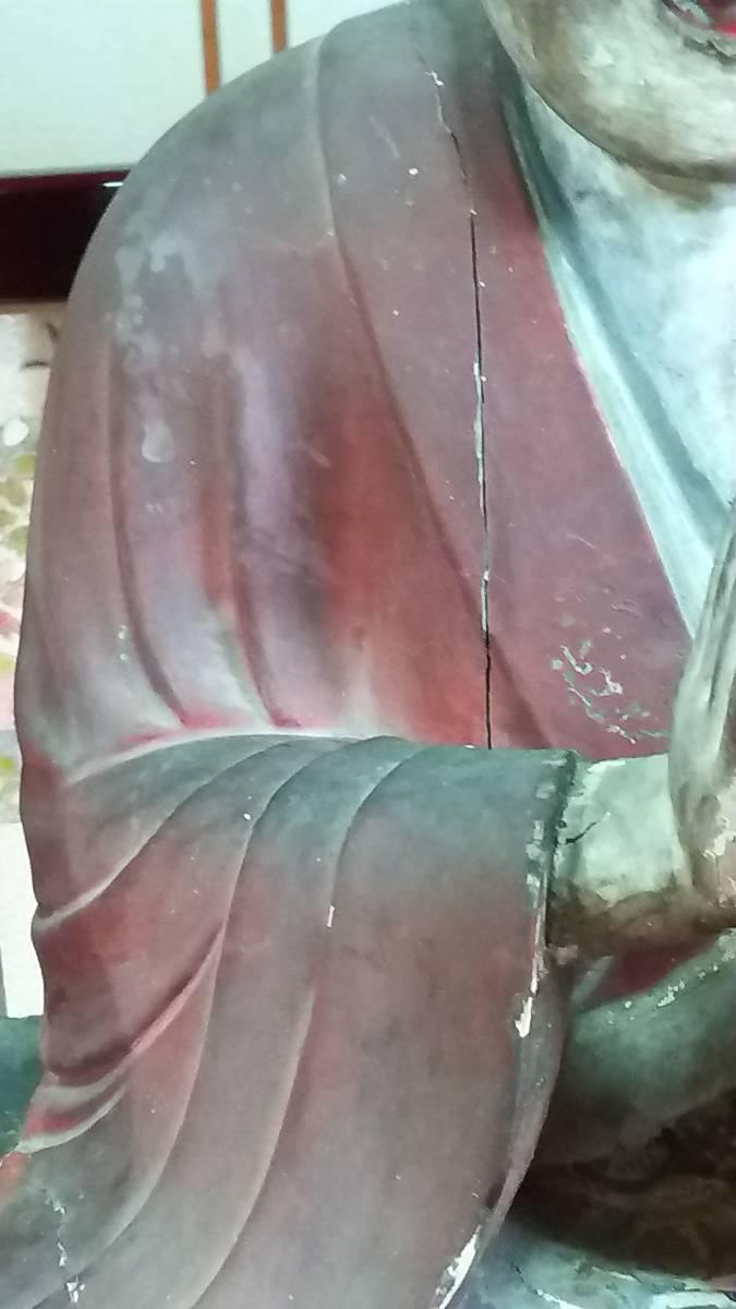 (鳥羽)初荷品室町~江戸期大型玉眼法然座上人仏 台座付_画像3