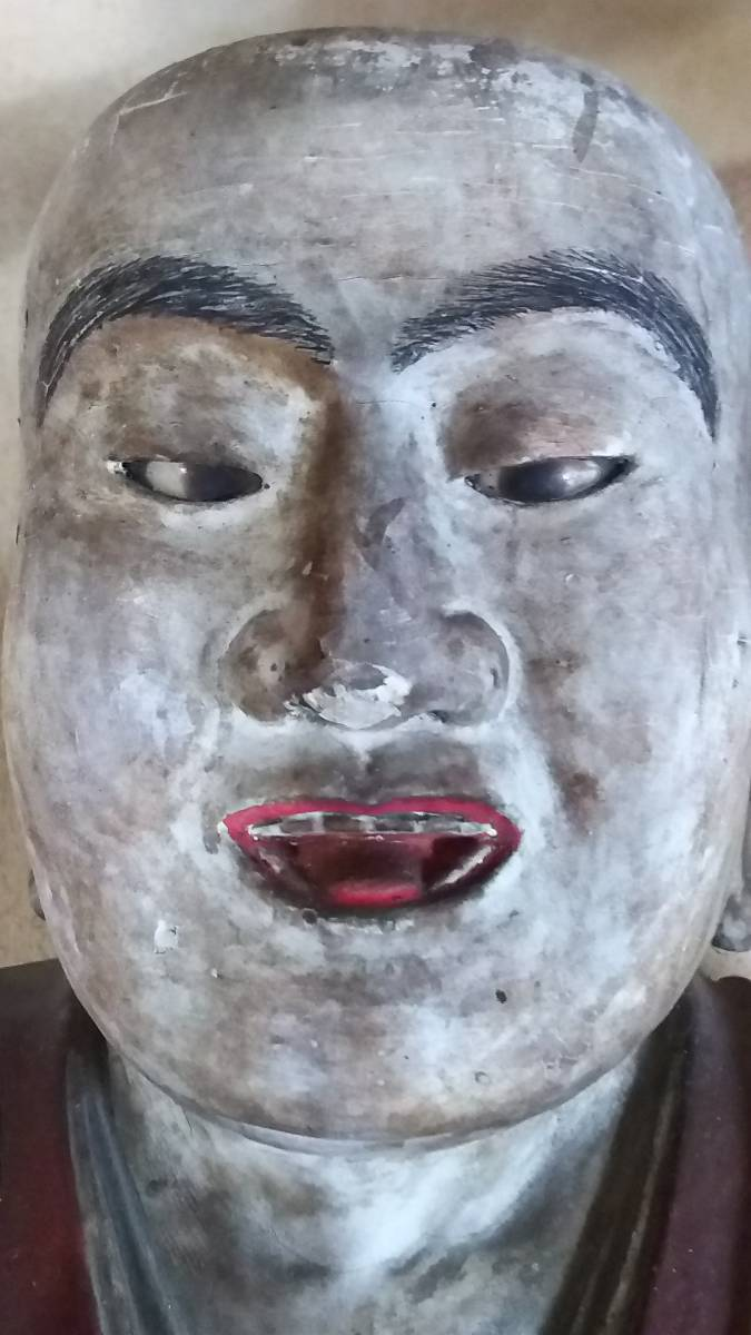 (鳥羽)初荷品室町~江戸期大型玉眼法然座上人仏 台座付_画像8