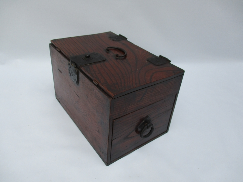 時代■ 古い掛硯(かけすずり) 便利 硯箱 天然木 筆記用具入 5254■