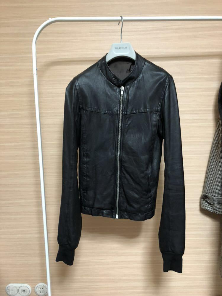 Rick Owens リックオウエンス レザージャケット RU3763 サイズ:XS カラー:ブラック ラムレザー_画像1