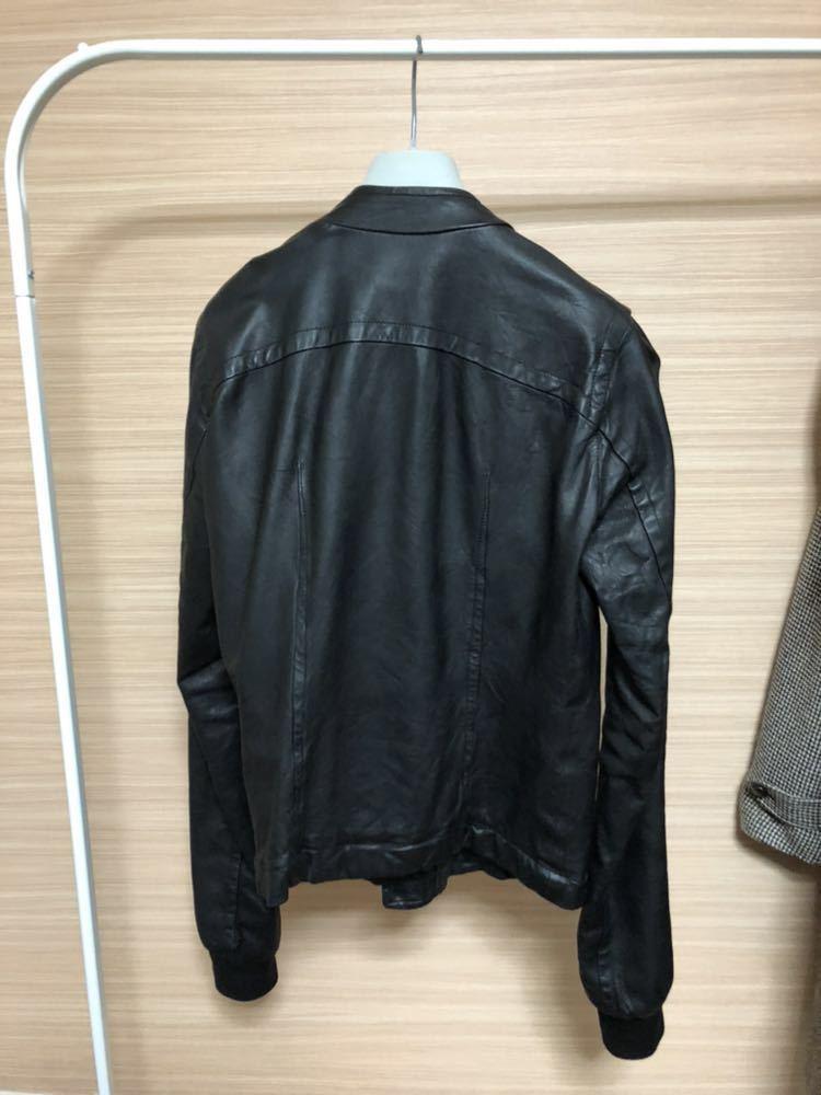 Rick Owens リックオウエンス レザージャケット RU3763 サイズ:XS カラー:ブラック ラムレザー_画像2